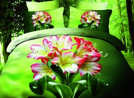 Green Background Pink Flowers 100% Cotton 3D Bedding Sets