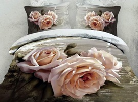100% Cotton Champagne Rose 3D Bedding Sets