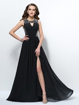 Glamorous Sequins A-Line Empire Waistline Floor-Length Black Evening Dress