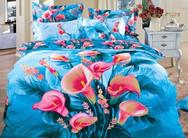 Blue Background Pink Calla 100% Cotton 3D Bedding Sets