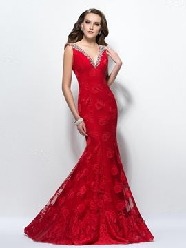 Classy Backless Mermaid V-Neck Beading Sweep Train Lace Evening Dress