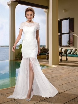 Sheath Bateau Lace Sweep Split-Front Charming Wedding Dress