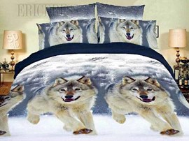 100% Cotton Snowwolf Animal Print Bedding Sets