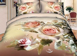 100% Cotton Flourishing Yellow Rose 3D Bedding Sets