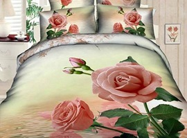 Pink Roses On The Water 100% Cotton 3D Bedding Sets