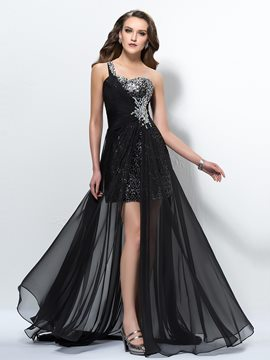 Faddish One-Shoulder Beading Sweep Train Prom Dress