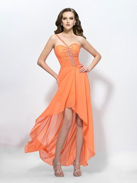 Charming One Shoulder Beading Zipper-Up Prom Dress