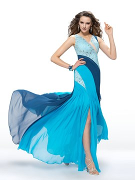 Attractive Multi-Colour Trumpet V-Neck Beading Split-Front Long Chiffon Prom Dress