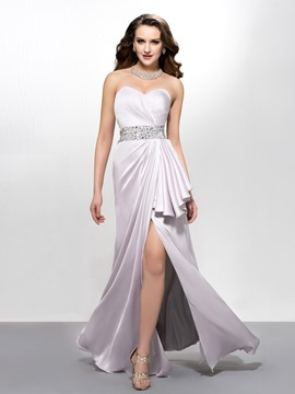 Modern Sweetheart Split Front Droped Floor-Length Evening Dress