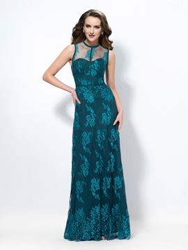 Awesome A-line Jewel Neck Lace Floor-Length Evening Dress