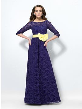 Spectacular Half-Sleeve Bateau Lace Bowknot Evening Dress
