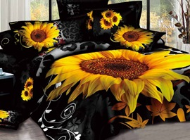 Big Golden Sunflowers 3D Bedding Sets
