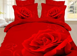 Fascinating Red Red Rose 100% Cotton 3D Bedding Sets