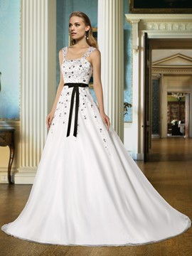 Straps Beading A-Line Floor Length Wedding Dress