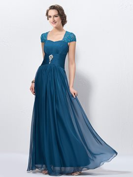 Charming Beading Square Zipper-Up A-Line Floor Length Prom Dress