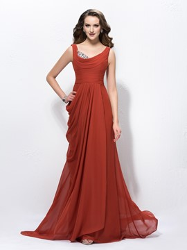 Attractive Scoop Beading Sweep/Brush Train Evening Dress