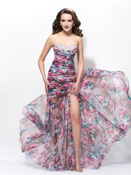 Elegant Strapless Split Front Trumpet/Mermaid Prom Dress