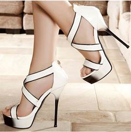 Elegant White Coppy Leather Ankle Strap High Heel Sandals
