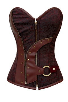 Classical Brown Brocade Lace-Up Corset