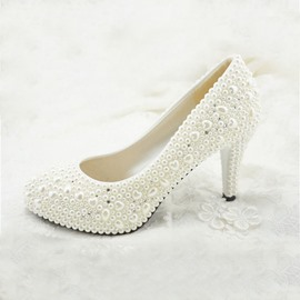 Unique Handwork Pearl Stiletto Heel Wedding Shoes
