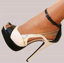Fashionbale Black & White Contrast Colour Coppy Leather High Heel Shoes