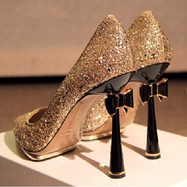 Fashion Shinning Prom Shoes with Bowknot