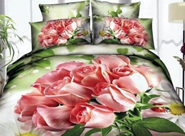 Green Leaf And Pink Roses 100% Cotton 3D Bedding Sets