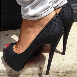 Fashionable Black Coppy Leather Peep Toe High Heel Shoes