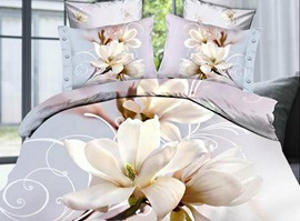 Spring Blossoms Pure Magnolia 100% Cotton 3D Bedding Sets