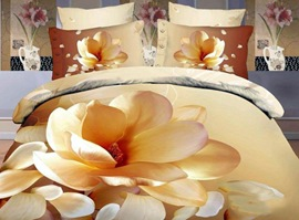 Yellow Magnolia Flower 100% Cotton 3D Bedding Sets