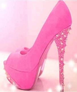 Gorgeous Rose Suede Peep Toe High Heel Shoes with Rhinestone Decoration