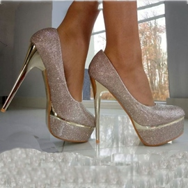 Gorgeous Silver High Heel Prom Shoes with Sequins