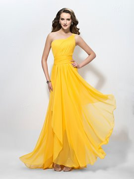 Charming One Shoulder Ruffles A-Line Applique Sequins Prom Dress/Bridesmaid Dress