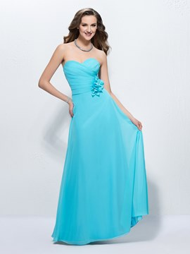 Comfortable Sweetheart Flowers Floor Length Zipper-up A-Line Prom Dress