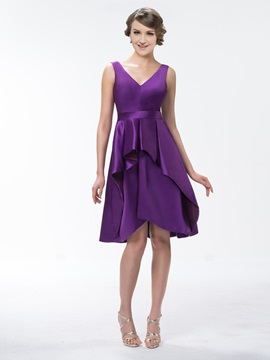 V-Neck Knee-Length Zipper-Up Bridesmaid Dress
