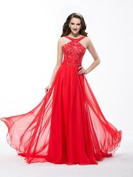 Beautiful Sweep Train Beadings A-Line Prom Dress
