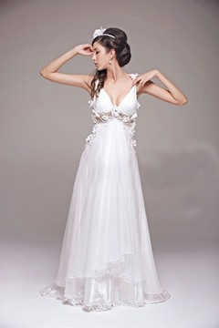 Sexy A-Line V-Line Flowers Floor-Length Alluring Wedding Dress