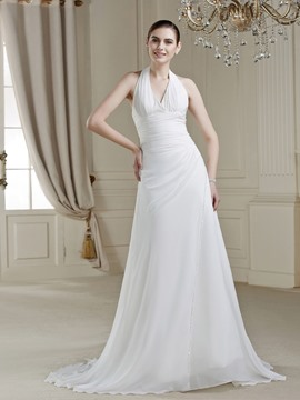 V-Neck Halter Beading Court Train Attractive Wedding Dress