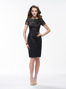 Elegant Sheath Knee Length Scoop Lace Short Sleeves Formal Dress