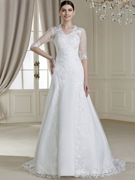 V-Neck Half-Sleeves Button Court Train Attractive Wedding Dress
