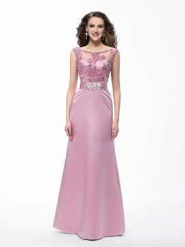 Elegant Sheath Floor Length Scoop Lace Beading Sashes Evening Dress