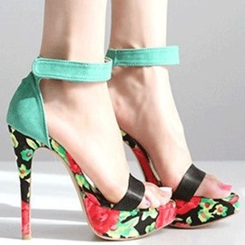 Gorgeous Green Coppy Leather Flower Print High Heel Sandals