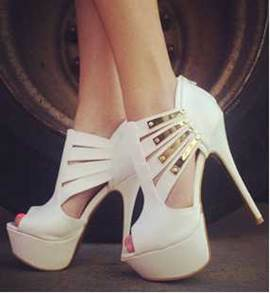 Deluxe White Sequin Peep Toe Platform Heel Girl Women Spring Shoes