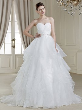 Ball Gown Sweetheart Sweep Train Charming Wedding Dress