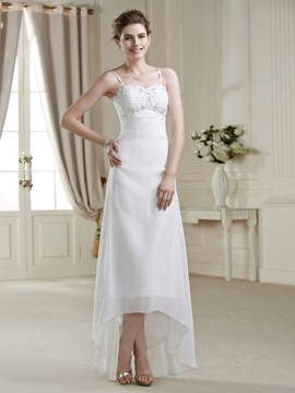 A-line Asymmetry Spaghetti Strap Zipper-up Sequins Wedding Dress