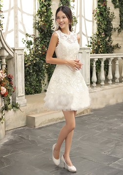 Latest A-Line Jewel Lace Short-Length Charming Wedding Dress