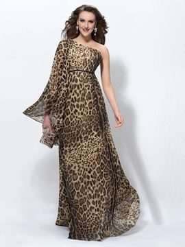 Charming Leopard-print One-Shoulder Long Sleeve Sweep Train Floor-Length Evening Dress