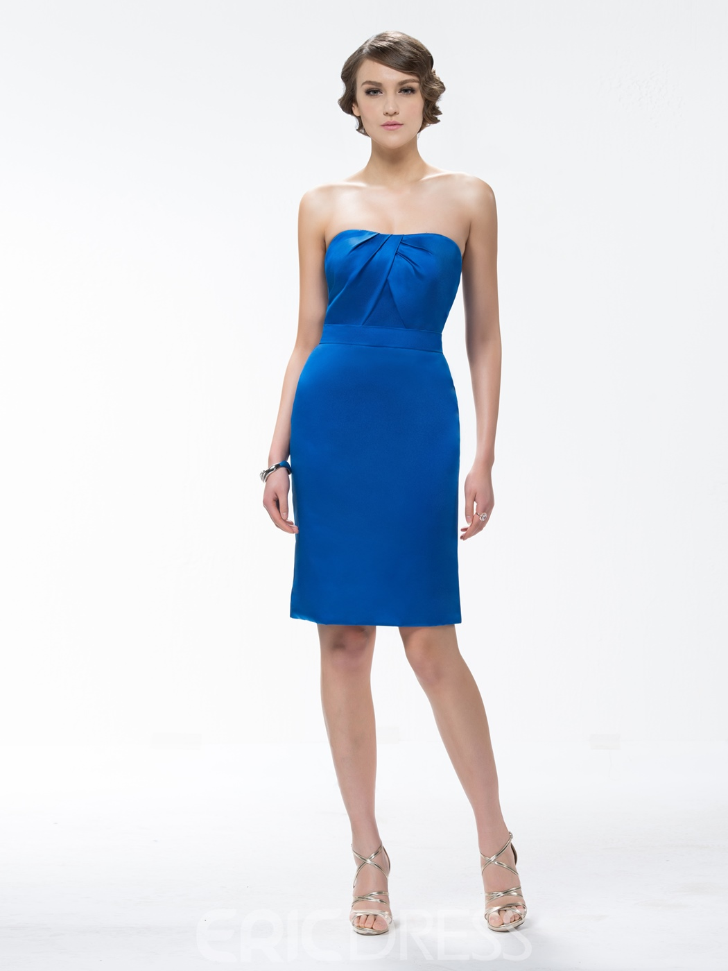 Strapless Knee-Length Zipper-Up Bridesmaid Dress