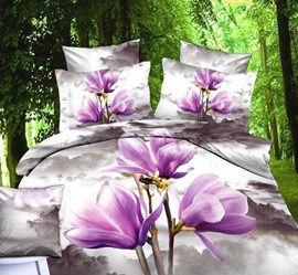 Only You Purple Flowers Fashion Queen/King Size Bedding Sets