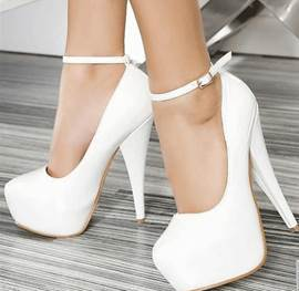 Elegant White Coppy Leather Platform High Heel Prom Shoes